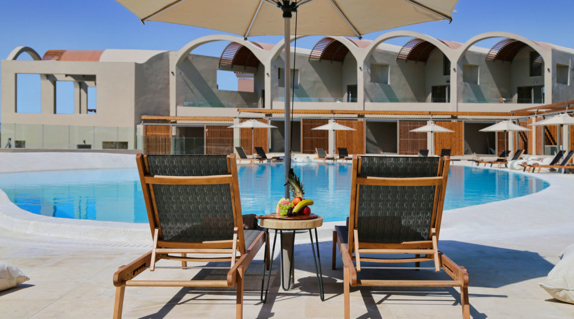 Sun loungers by the main pool