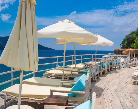 Spacious and complimentary sunbeds at Yali Beach Club for all Discernimng Collection guests