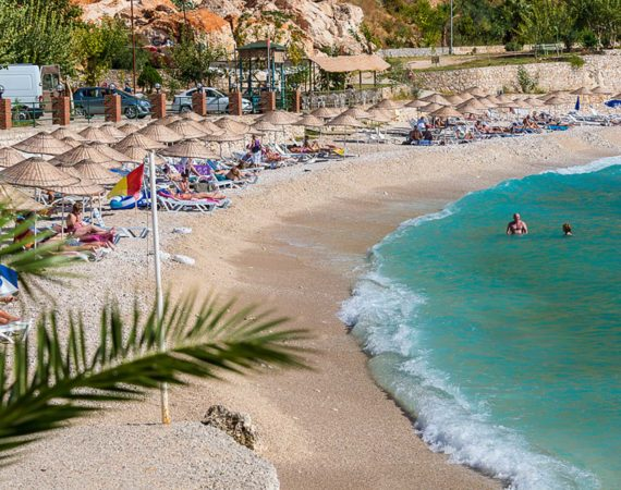 The beach and crystal clear waters at Kalkan