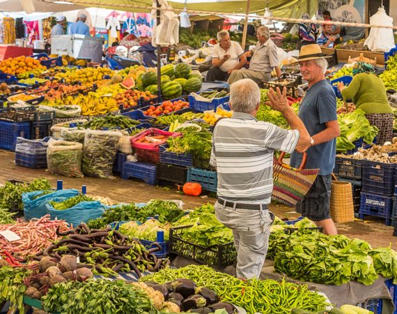 Fruit and veg market in old Kalkan