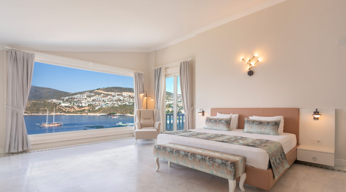 Room 1 -Double bedroom in main house with views towards Yali beach club