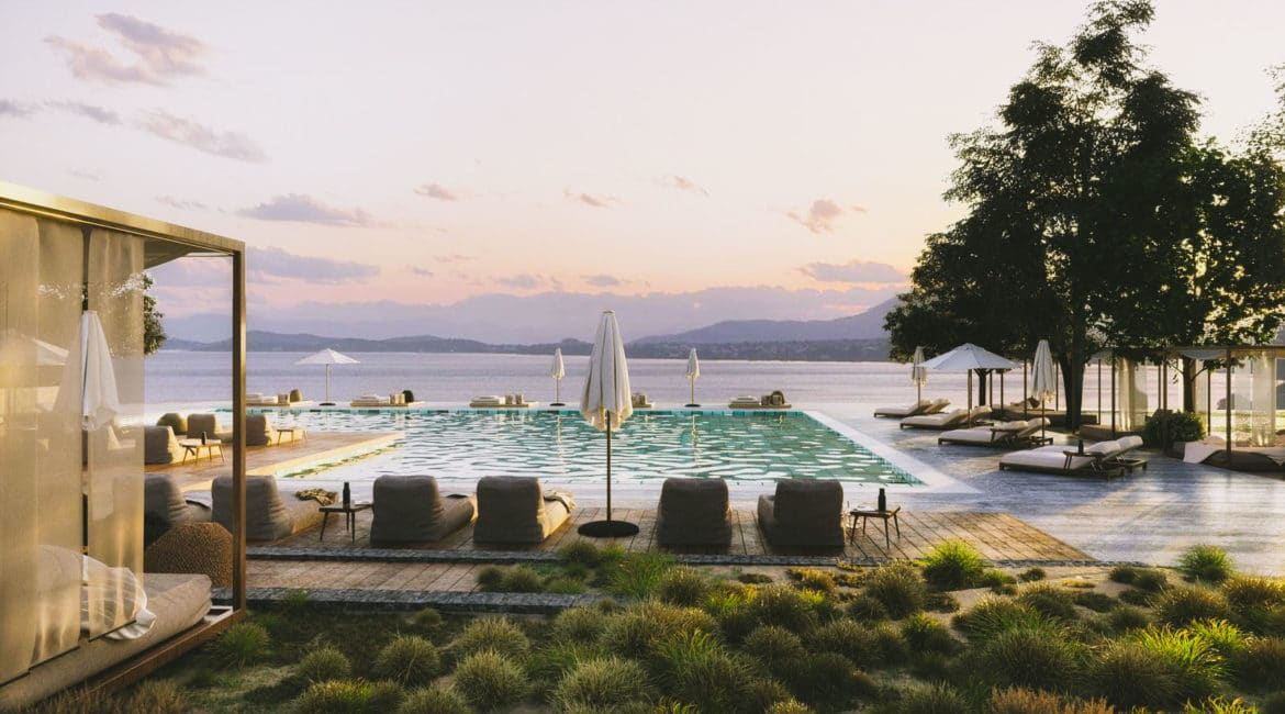 Gorgeous sea views from the Main Pool at Domes of Corfu