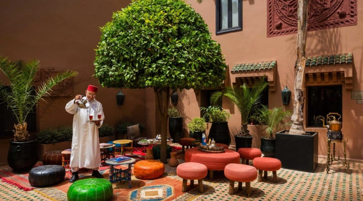Sip a glass of refreshing mint tea in the courtyard at Kasbah Tamadot