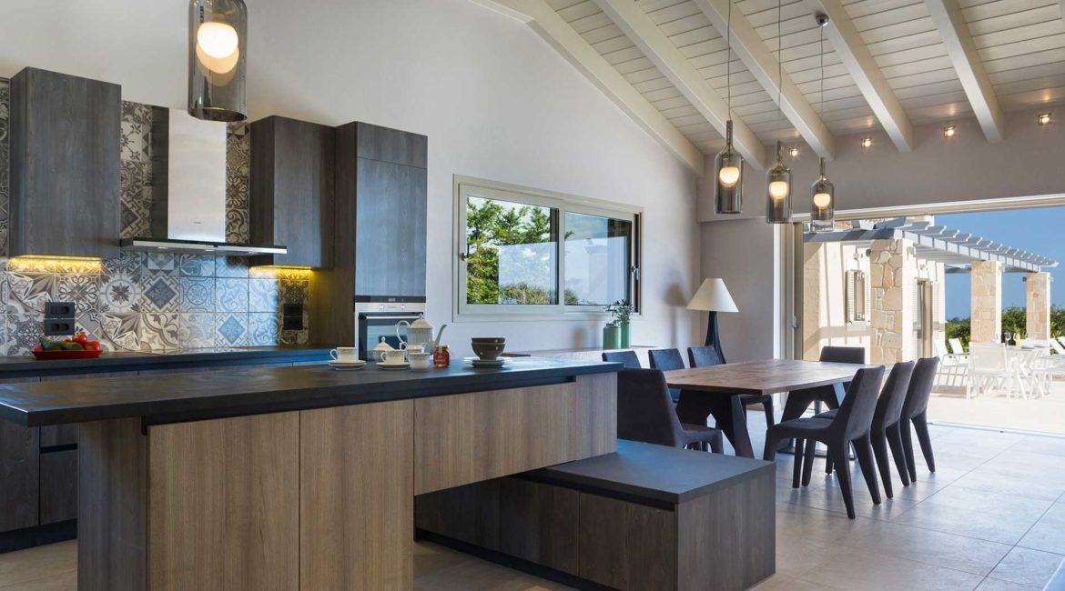 Villa Philoxenia kitchen and dining areas