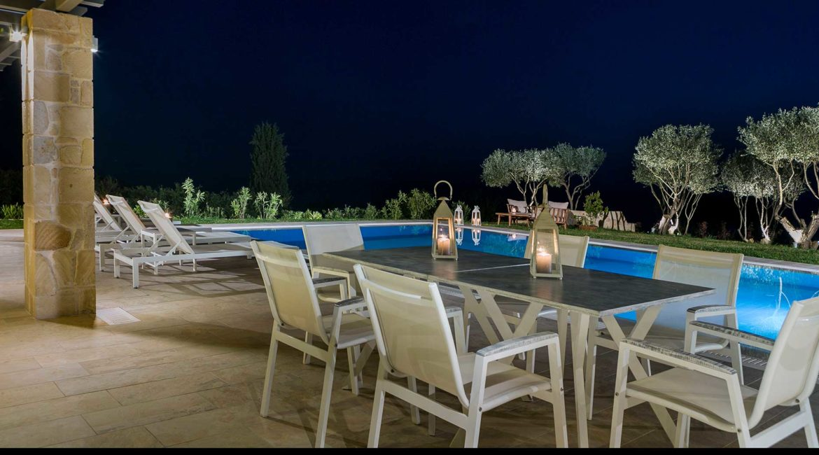 Villa Philoxenia outdoor dining and pool