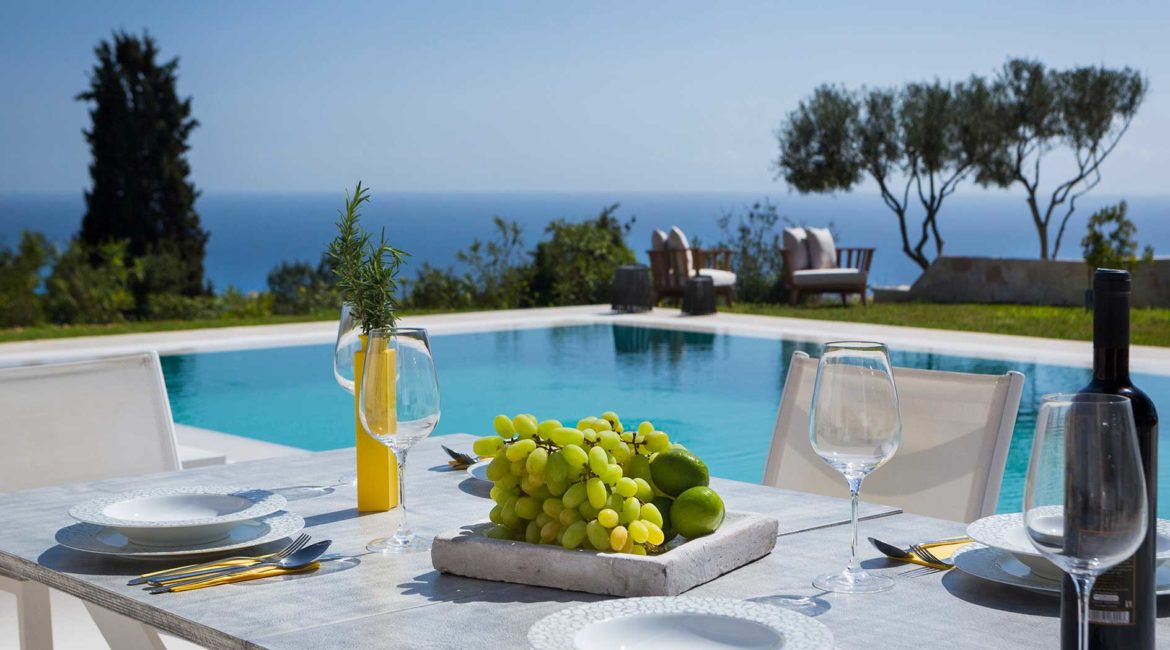 Villa Philoxenia outdoor dining, pool and sea views