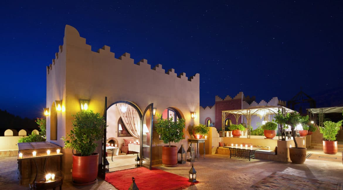 Private rooftop dining at the Kasbah Tamadot