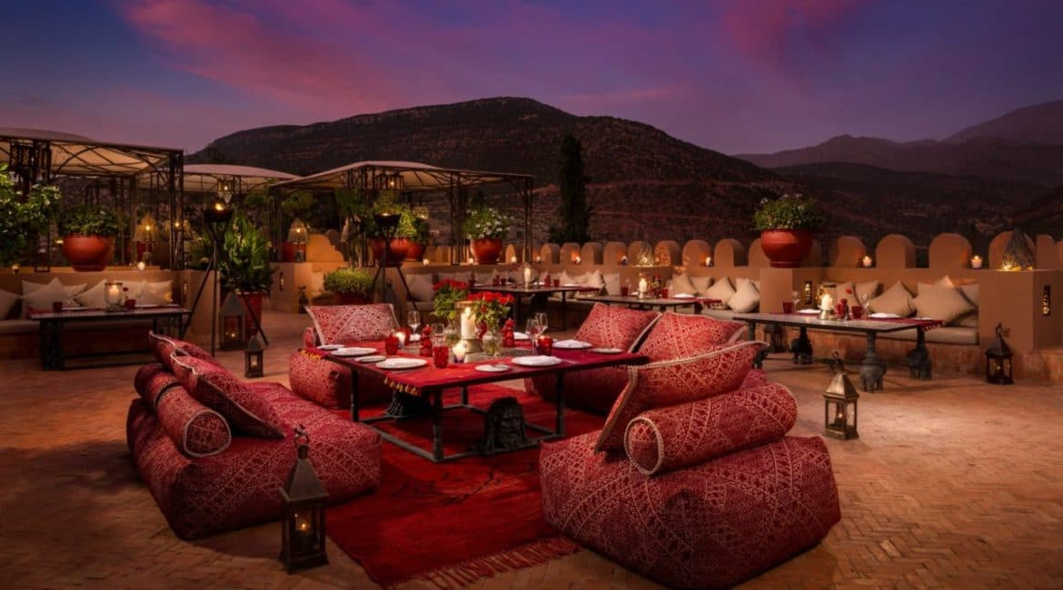 Private dining at the Kasbah Tamadot's roof terrace