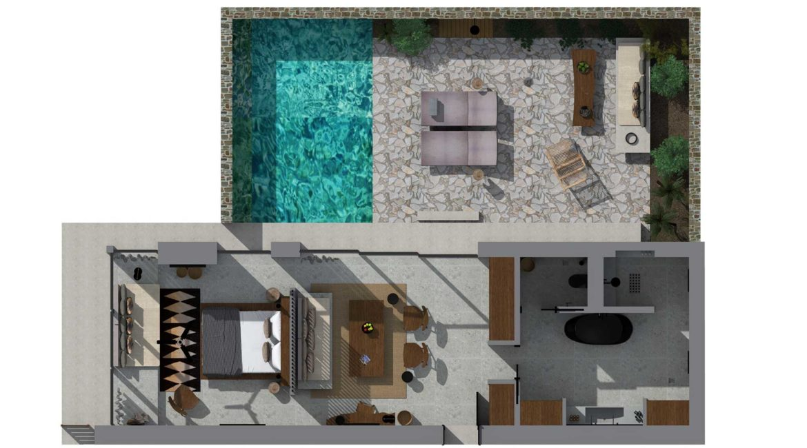 The layout of The Villa with private pool