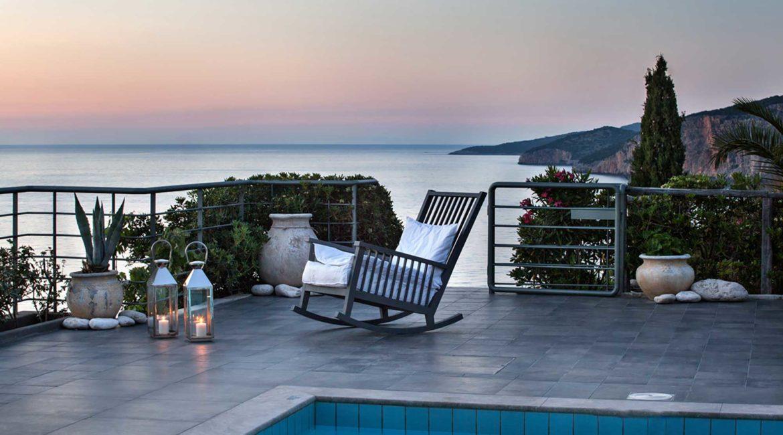 Villa Agapi Braunis Horio pool, terrace and sea views