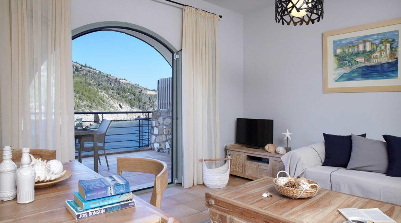 Villa Akrogialli Braunis Horio Villas living room with sea views