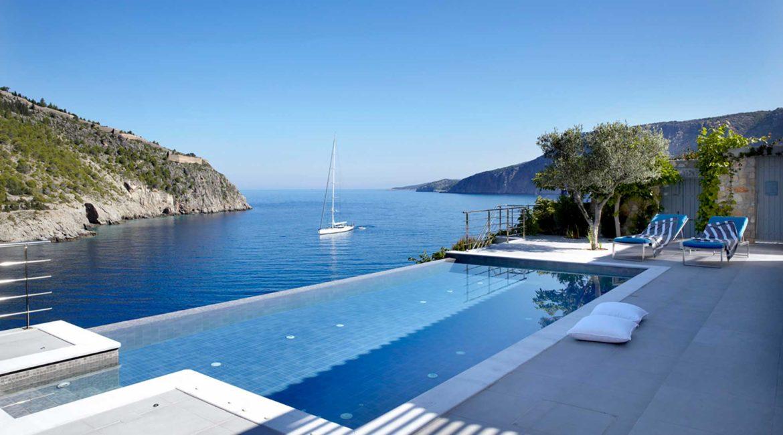 Villa Art Braunis Horio pool, sun terrace and sea views