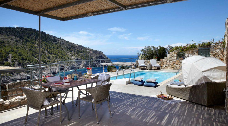 Villa Elea Braunis Horio outside dining, pool and sea views