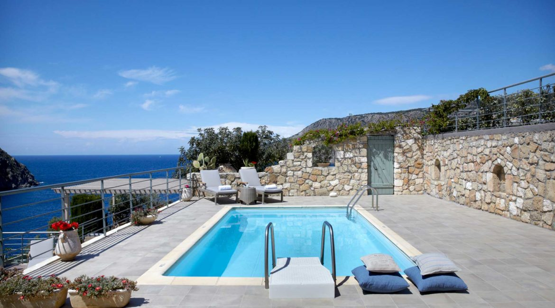 Villa Elea Braunis Horio sun terrace and pool