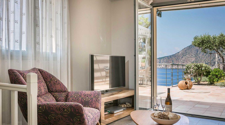 Villa Eleni Braunis Horio living room and outside sun terrace