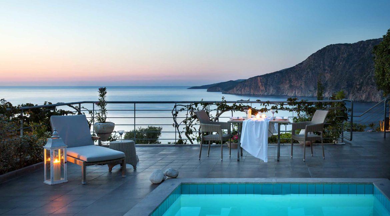 Villa Glaroni Braunis Horio pool, terrace and stunning sea views