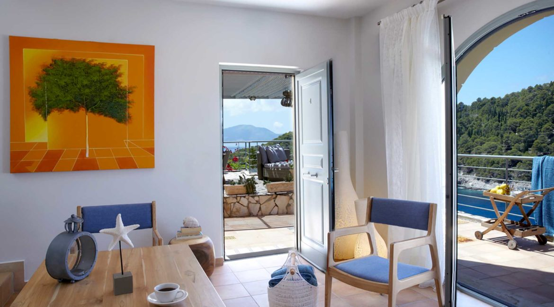 Villa Nikolis Braunis Horio living room and outside terrace