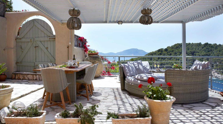Villa Nikolis Braunis Horio shaded terrace and sea views