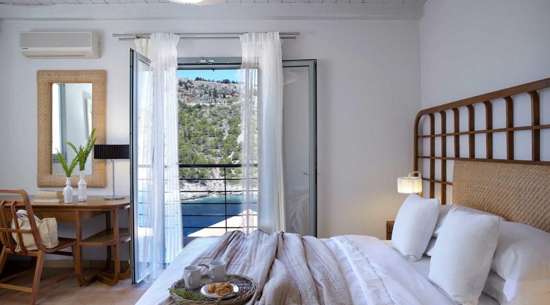 Villa Nikolis Braunis Horio double bedroom with sea views
