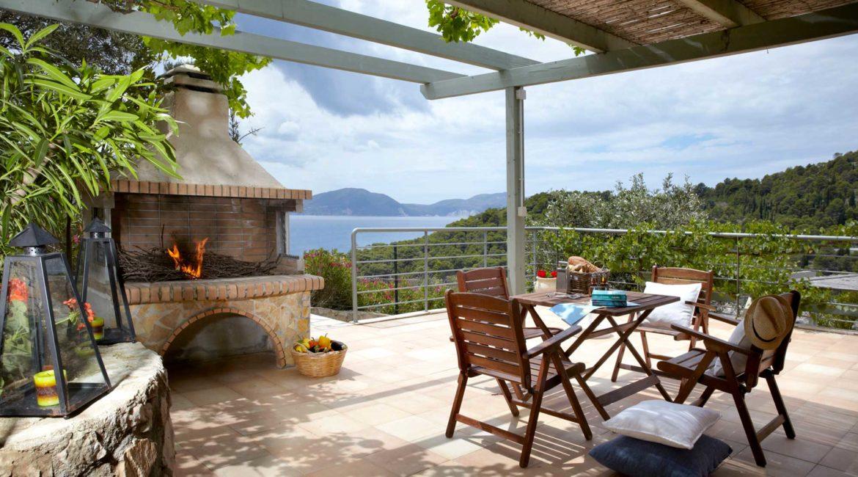 Villa Thea Braunis Horio shaded sun terrace and stunning sea views