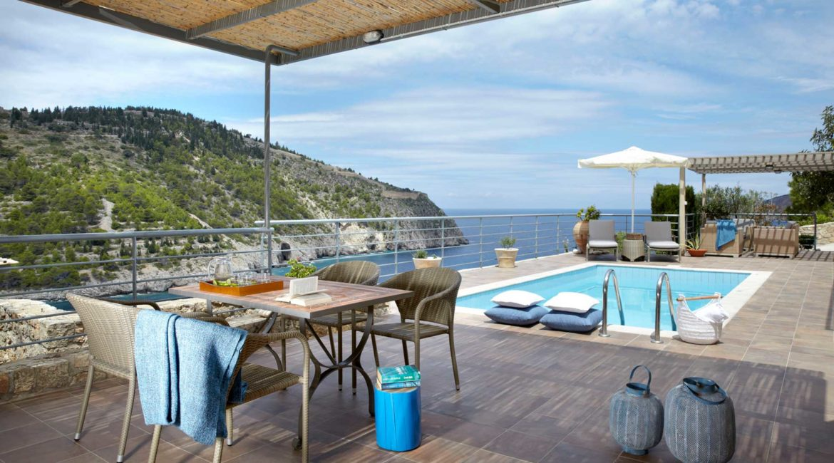 Villa Thea Braunis Horio shaded sun terrace and pool with sea views