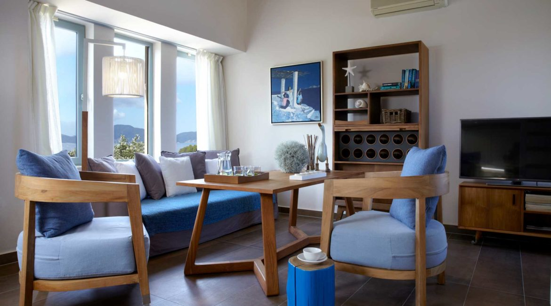 Villa Thea Braunis Horio living room with sea views