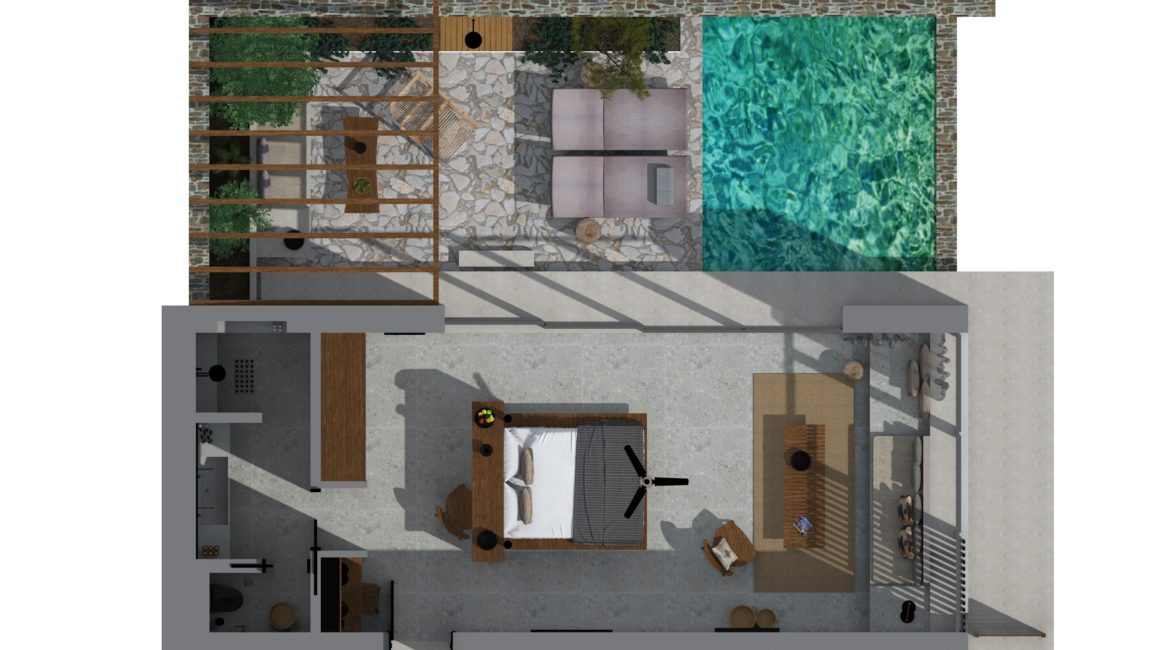 Room layout for Sapphire Pavilion private pool