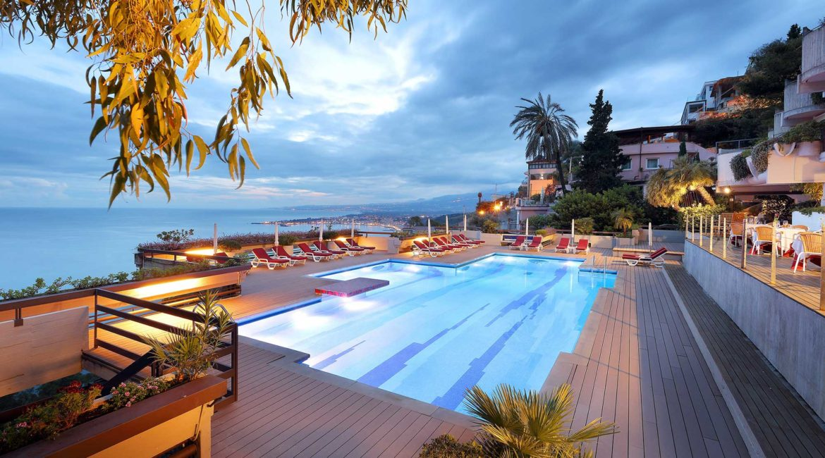 Monte Tauro hotel pool and terrace with superb views