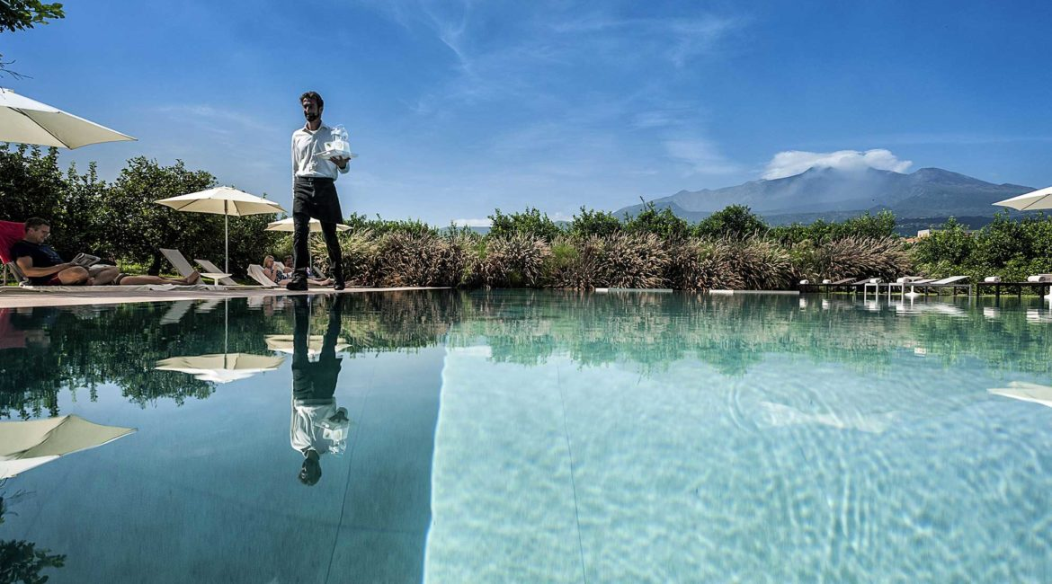 Ramo D'Aria pool and dramatic view of Mount Etna