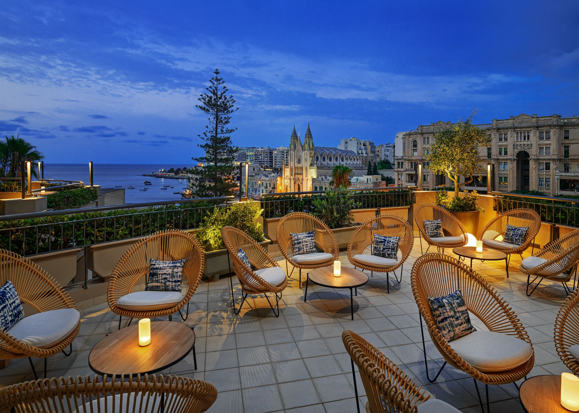 Marriott Malta Atrio terrace overlooking Balluta Bay