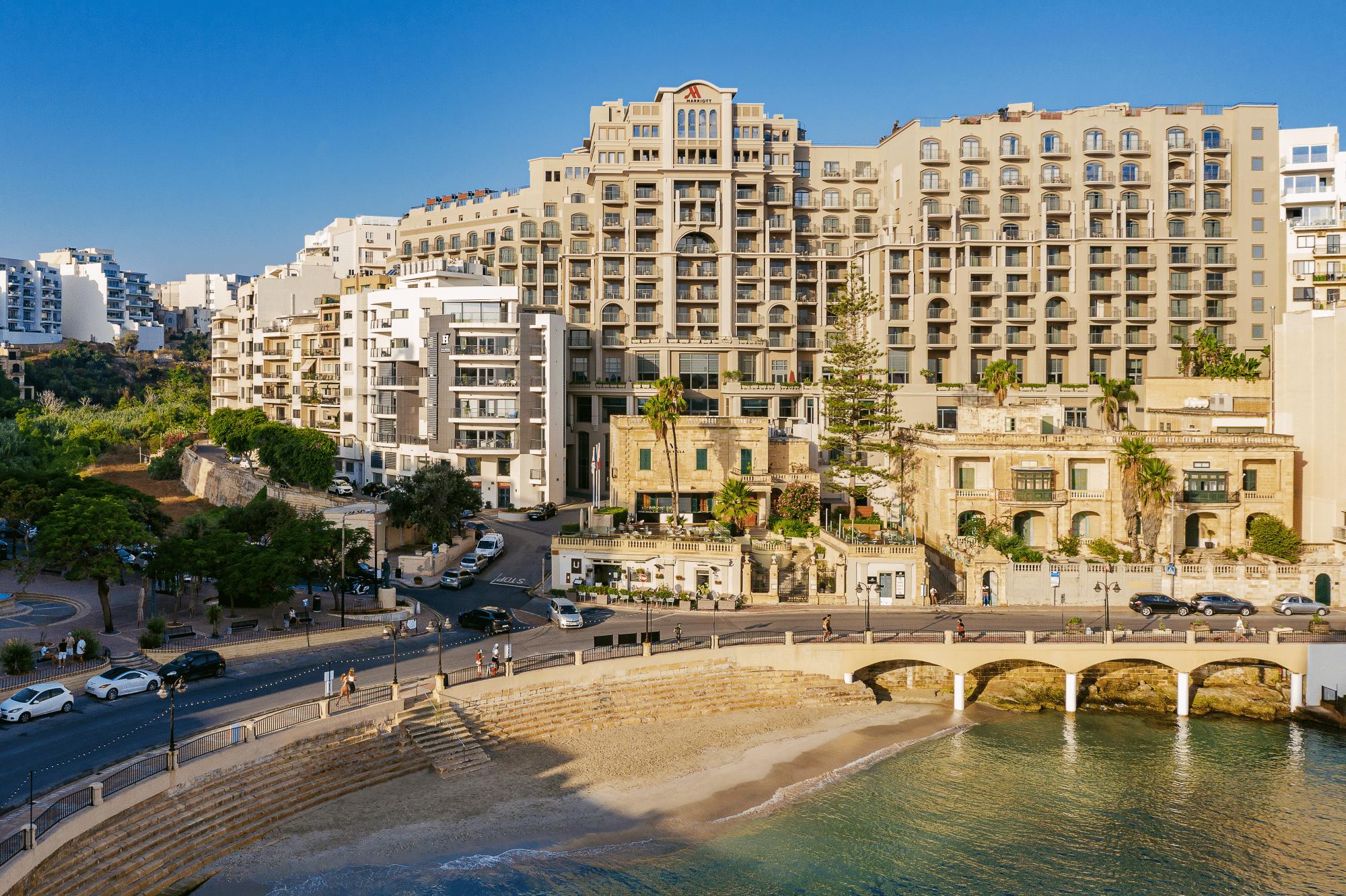 Marriott Malta exterior shot and beach