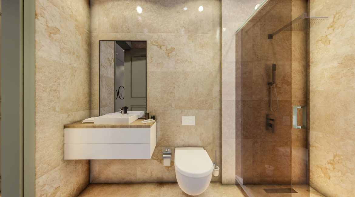 Villa Nymphe twin bathroom with shower