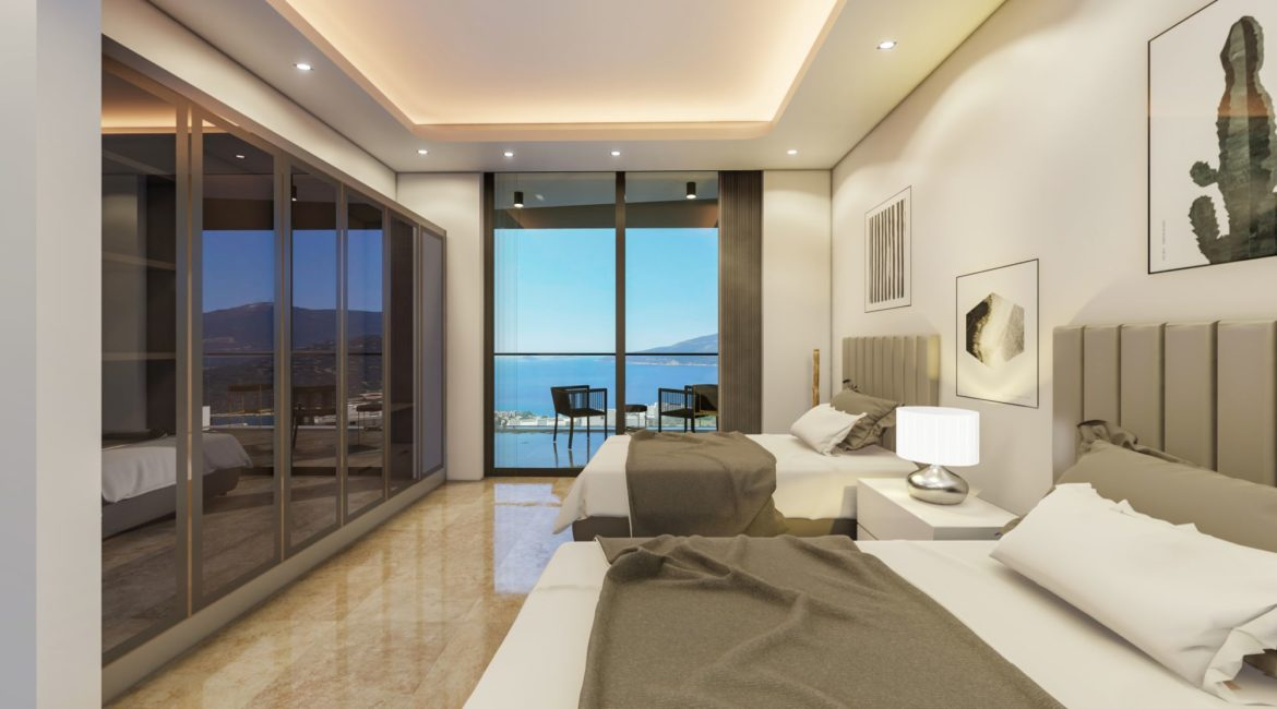 Villa Nymphe twin bed with sea views