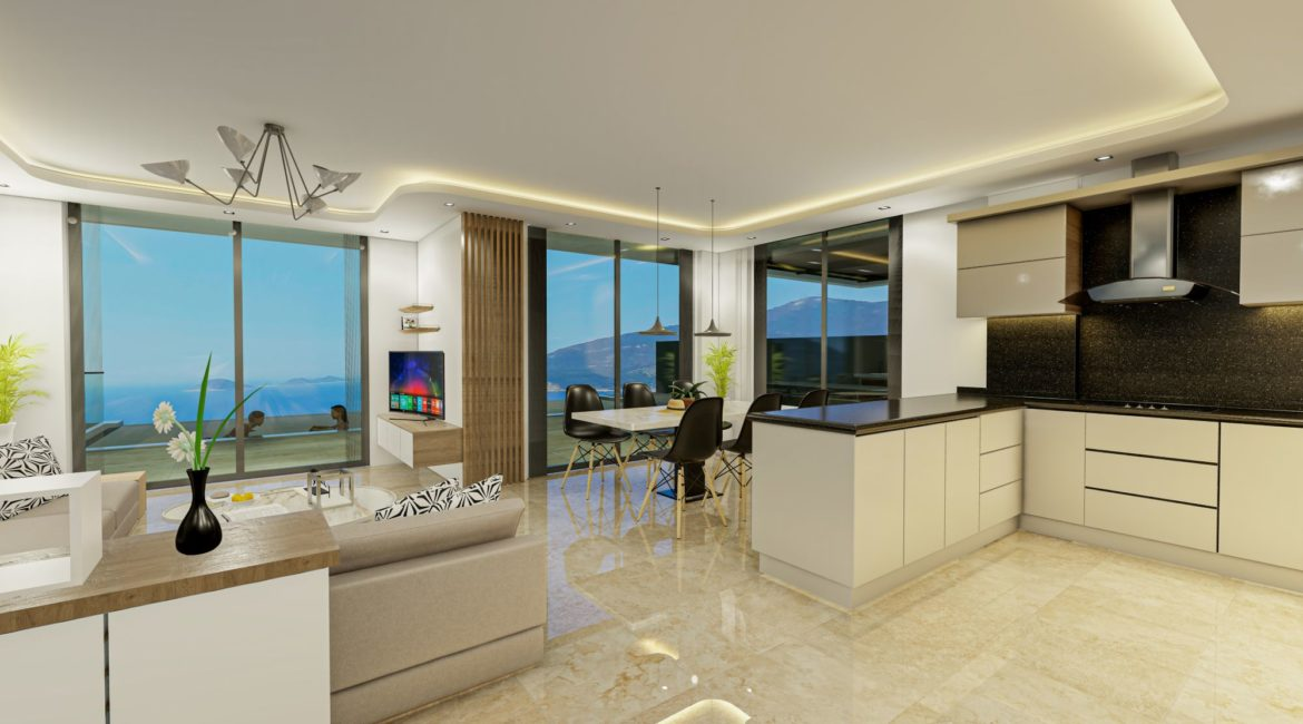 Villa Eos kitchen and lounge with views