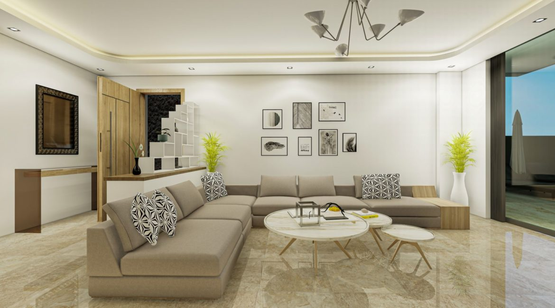 Villa Eos lounge with L shaped sofa