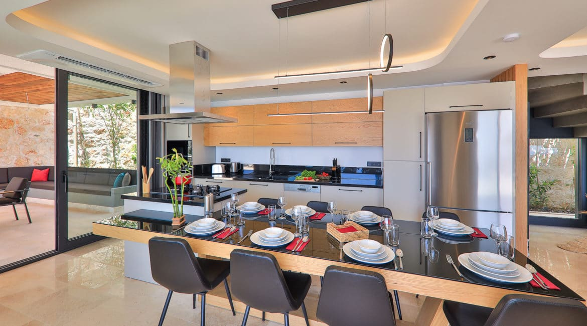 Villa Nymphe indoor dining and modern kitchen