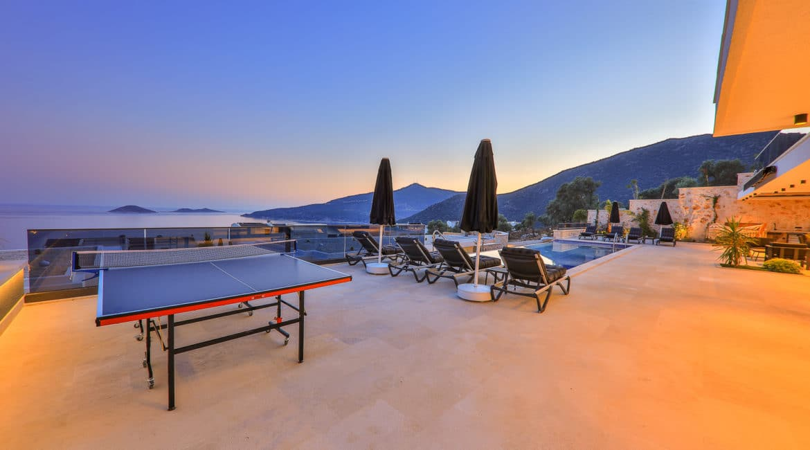 Villa Nymphe large pool terrace with table tennis