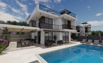 Villa Eos pool sun terrace and front view