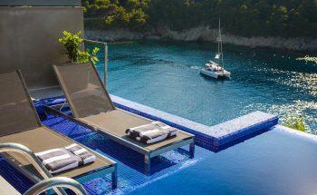 Villa Eutuxia Braunos Horio infinity pool with terrace and sea views